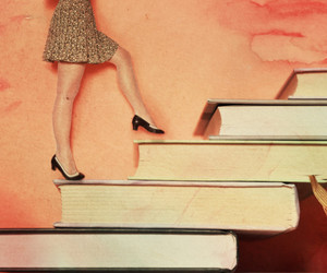 books, girl, and legs image