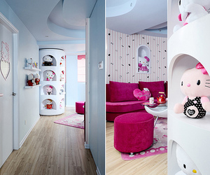 hello, hello kitty, and house image