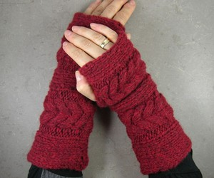 arm warmers, cable knit, and fingerless gloves image