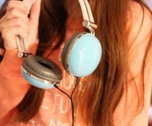 blogger, blue, and earphones image