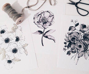 art, b&w, and flowers image