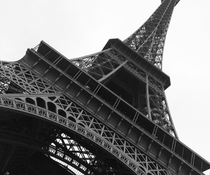black and white, eiffel tower, and christmas image