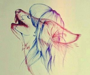 drawing, wolf, and girl image