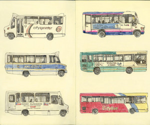 art, drawing, and bus image