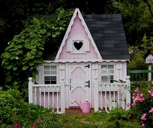 pink, house, and cottage image