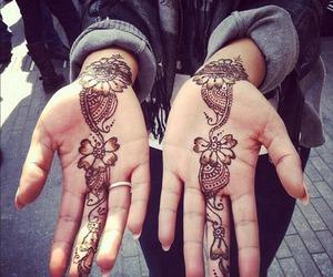tattoo, henna, and hands image