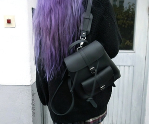 black, purple hair, and style image