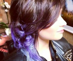 blue, purple hair, and demi image