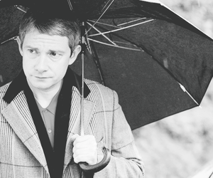 Martin Freeman, actor, and umbrella image