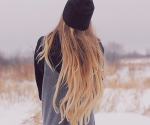 hair, blonde, and winter image