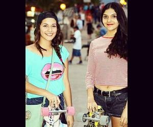 girls, longboard, and smile image
