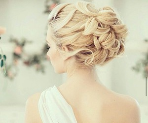 hair, wedding, and white image
