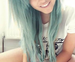 blue hair, color hair, and emo image