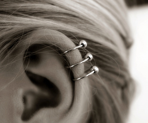 girl, piercing, and earrings image