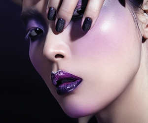 colorful makeup, purple eyeshadow, and glitter image