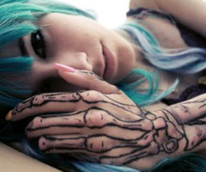 blue, girl, and tattoo image
