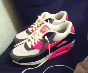 black and grey, pink, and nike air max 90 image