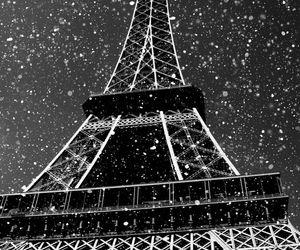 paris, snow, and eiffel tower image