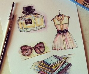 drawing, dress, and perfume image