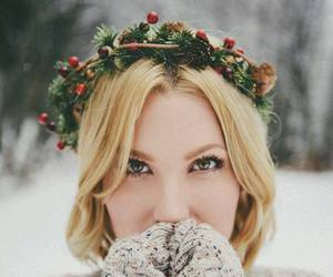 girl, blonde, and winter image