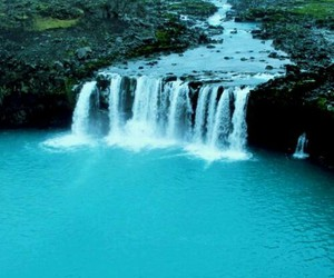 waterfall, water, and blue image