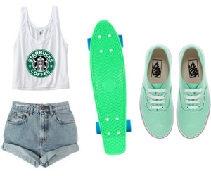 me, starbucks addict, and loves penny boarding image