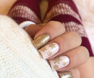 christmas, nails, and gold image