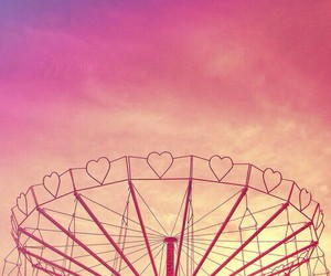 pink, heart, and sky image