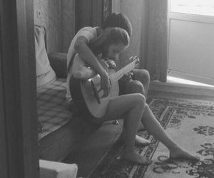blackandwhite, couple, and guitar image