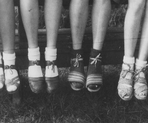 shoes, black and white, and girls image