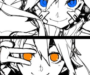 anime, blue eyes, and orange eyes image