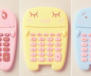 cute, kawaii, and calculator image