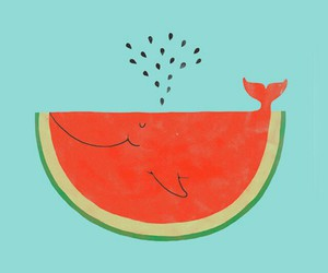 watermelon, whale, and wallpaper image