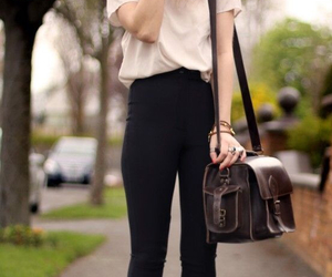 black pants, outfit, and shirt image