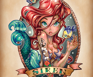 ariel, disney, and tattoo image