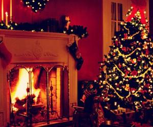 christmas, tree, and fire image