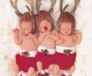 babies, reindeers, and christmas image