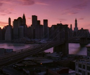 new york, city, and sunset image