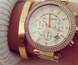 cartier, gold, and rhinestones image