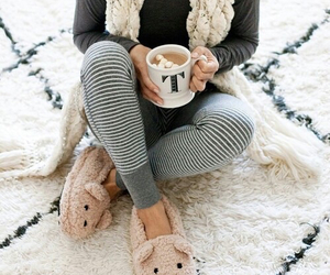 winter, hot ​chocolate, and slippers image