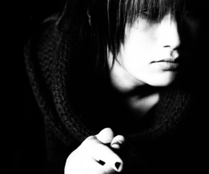 black and white, jrock, and plastic tree image