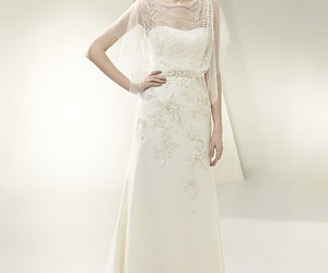 lace, sleeveless, and wedding dress image