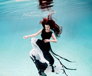 underwater, water, and dress image