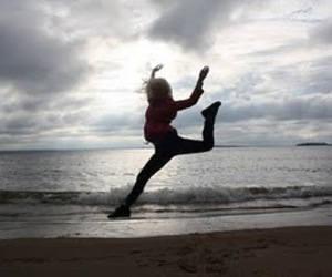 autumn, jump, and beach image
