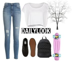 blue jeans, Polyvore, and penny board image