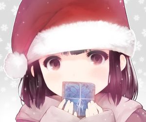 anime, black hair, and christmas image