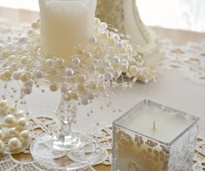 candle, pearls, and shabby chic image