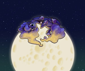 MLP, moon, and my little pony image