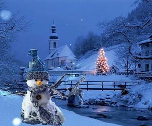 christmas, church, and snow man image