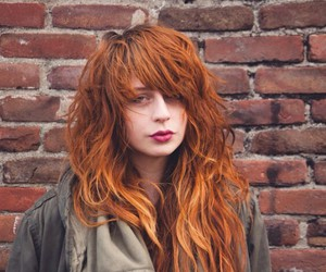 girl, hairs, and red image
